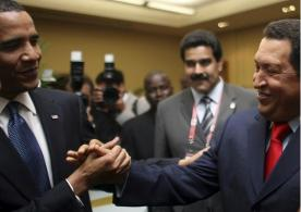 Obama with marxist Hugo Chavez (Summit/Americas 4-17-09) (Reuters)