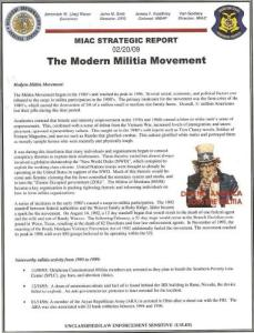 "DHS-Missouri Information Analysis Center (MIAC): ""The Modern Militia Movement""  Ron Paul bumper stickers terrorist"