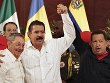 After being ousted Zelaya run to his marxist friends Dictators Chavez & Raul Castro (AP)