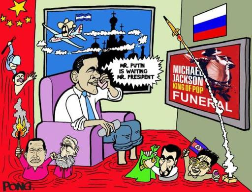 Barack Obama watching TV-Michael Jackson while threats from Korea, Russia, Chavez, Honduras, Zelaya, Iran (Pong:WorldEventsJuly2009)