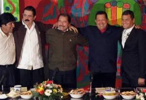 Marxist leaders (L-R): Bolivia's Evo Morales, Honduras ousted-President Zelaya, Nicaragua's Ortega, Venezuela's Chavez & Ecuador's Correa