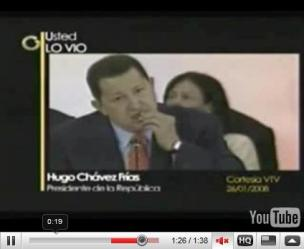 click image for video: Chavez Eating Coca Leaves