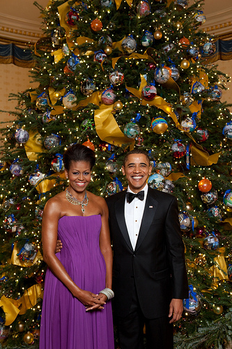 Obamas in front of Christmas Tree with Mao