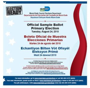 Elections in Miami-Dade County, Florida, August 24, candidates, governor, Rick Scott, Bill McCollum