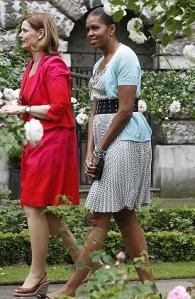 Obesity Campaing Food Police: Michelle Obama walks with Sarah Brown in the garden of 10 Downing Street, in London - June 2009 (AP)
