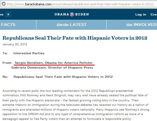 "Bendixen wrote Obama's campaign strategy memo entitled ""Republicans Seal Their Fate with Hispanic Voters in 2012"""