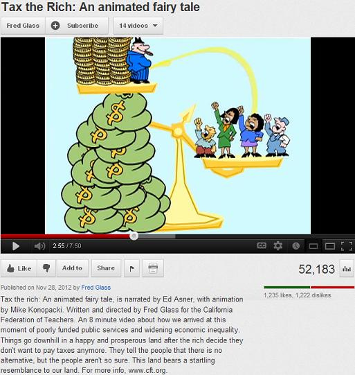 The California Federation of Teachers' video is little more than unsurprising leftist propaganda, aimed to indoctrinate children with no basis in fact. Leftist, multimillionaire (1%er) actor Ed Asner narrates this video that claims the rich obtain their wealth through tax cuts, tax loopholes, and even tax evasion