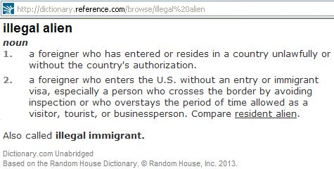Definition of Illegal Alien = A Foreigner who has Entered a Country Unlawfully