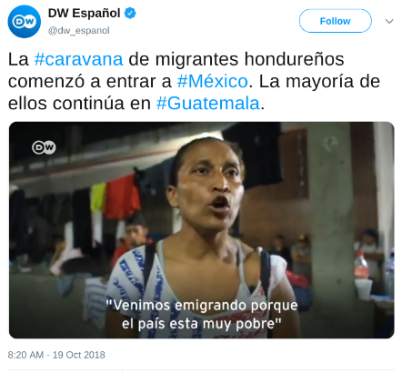"""Migrant caravan woman """"Venimos emigrando porque el país está muy pobre."""