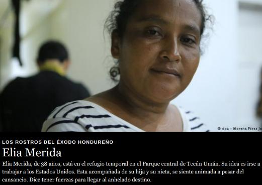 """Spanish: """"Caravan migrant from Honduras coming to United States to get job: Elia Merida, de 38 años, está en el refugio temporal en el Parque central de Tecún Umán. Su idea es irse a trabajar a los Estados Unidos. Esta acompañada de su hija y su nieta, se siente animada a pesar del cansancio. Dice tener fuerzas para llegar al anhelado destino."""""""