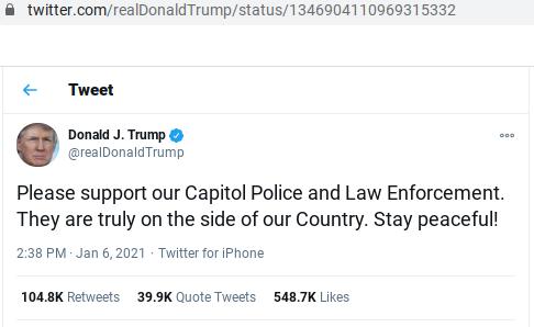 TrumpTweetCapitolBreach6Jan2020a